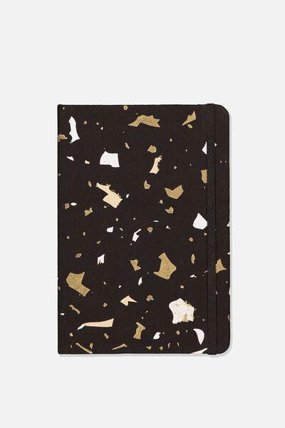 A5 Fabric Undated Daily Diary, BLACK TERRAZZO