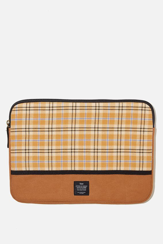 Take Me Away 13 Laptop Case, YELLOW BROWN CHECK WTIH MID TAN SPLICE