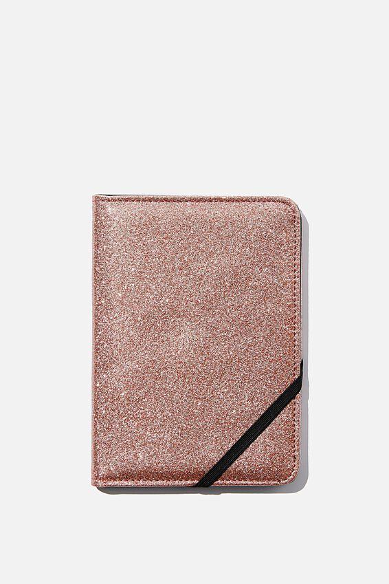 Rfid Passport Holder, ROSE GOLD GLITTER