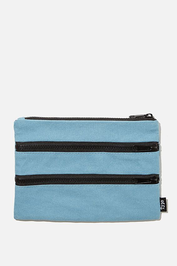 Double Archer Pencil Case, DENIM BLUE CANVAS