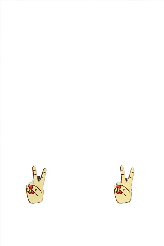 Novelty Earrings, PEACE HANDS