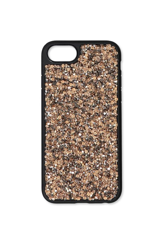 Textured Universal Phone Cover 6, 7, 8, GOLD GLITTER