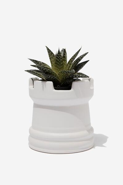 Midi Shaped Planter, WHITE CHESS PIECE