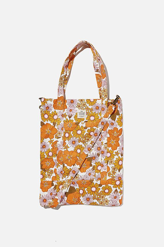 Book Tote Bag, ORANGE AND PINK STEVIE FLORAL