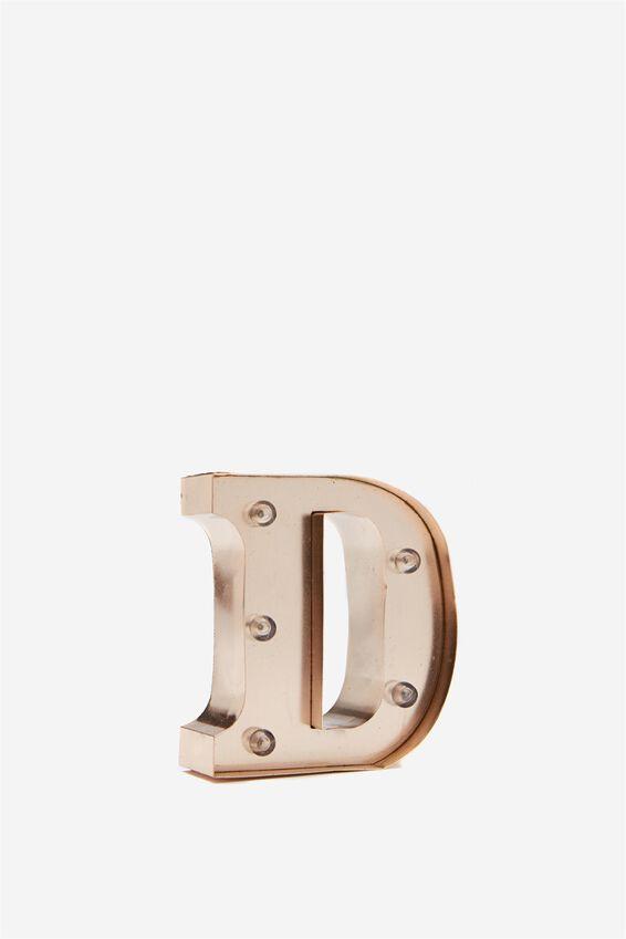 Mini Marquee Letter Lights 10cm, ROSE GOLD D