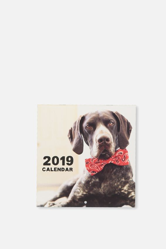 2019 Mini Square Calendar, DOGS