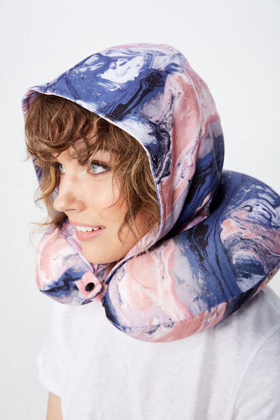 Travel Neck Pillow with Hood, MOODY MARBLE