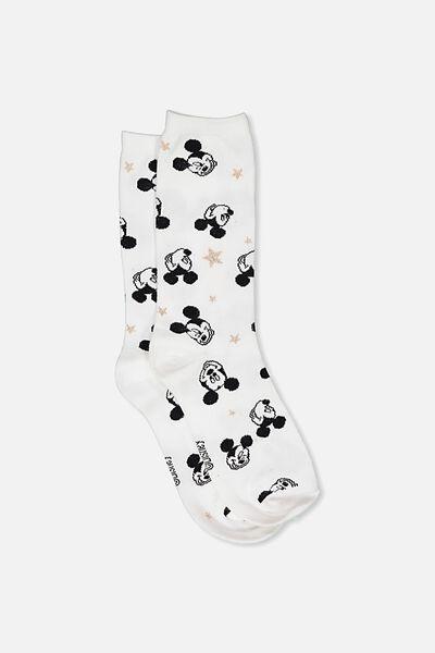 Womens Novelty Socks, LCN MICKEY HEADS STARS