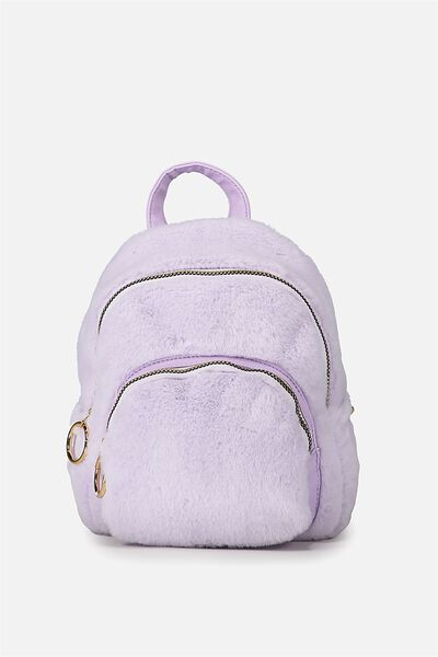 Mini Madrid Backpack, LILAC FAUX FUR