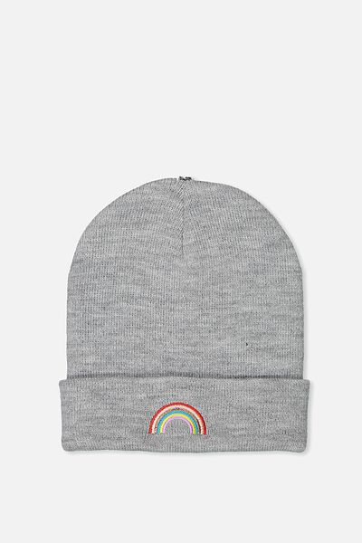 Personalised Beanie, GREY RAINBOW