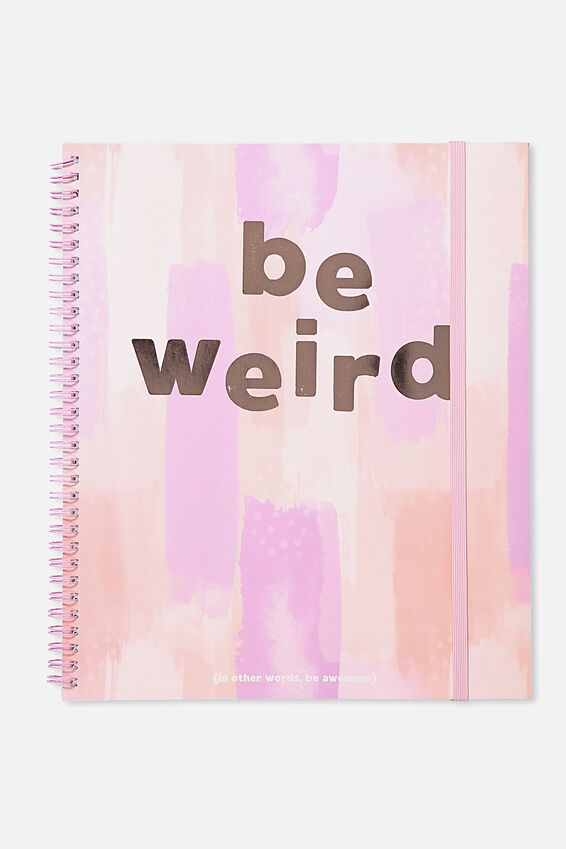 College Ruled Spinout Notebook V, BE WEIRD PEACH PAINTED