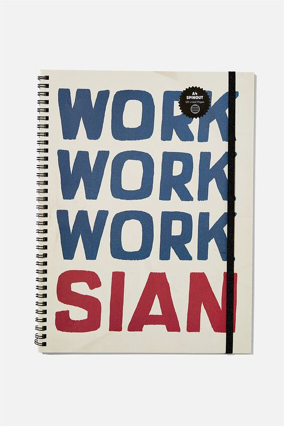 A4 Spinout Notebook Recycled, WORK WORK SIAN