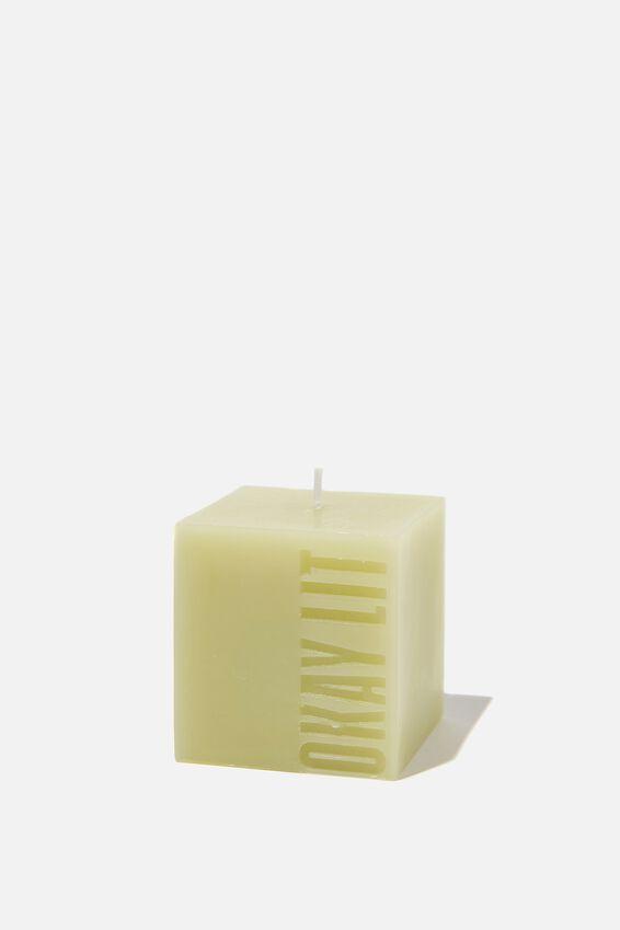 Mini Block Candle, GUM LEAF OKAY LIT