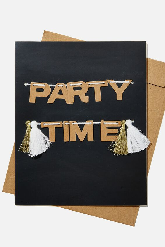 Premium Nice Birthday Card, PARTY TIME TASSELS BLACK