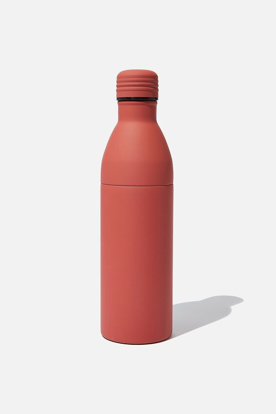 Two Piece Metal Drink Bottle, PL RUBBER RUST