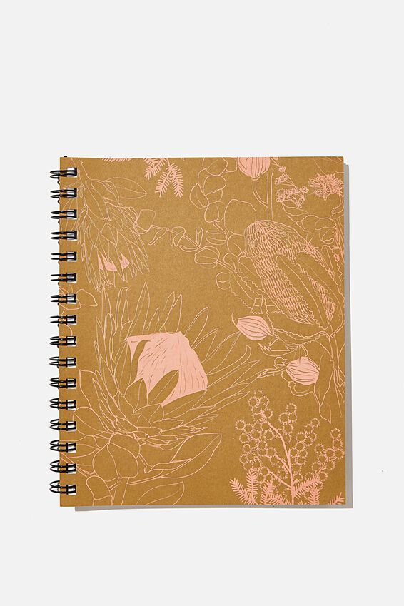 A5 Campus Notebook Recycled, RG AUS FLORAL LINE DRAWINGS