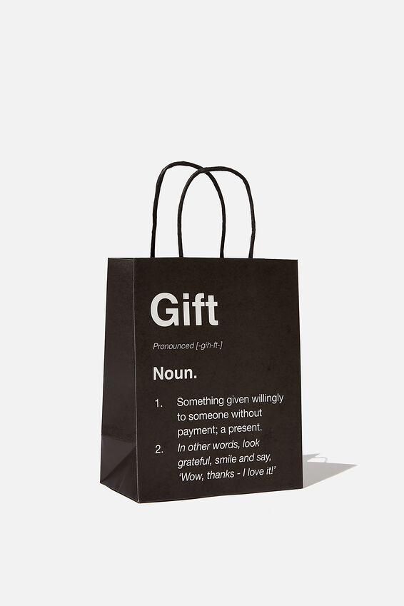 Get Stuffed Gift Bag - Small, GIFT NOUN BLACK