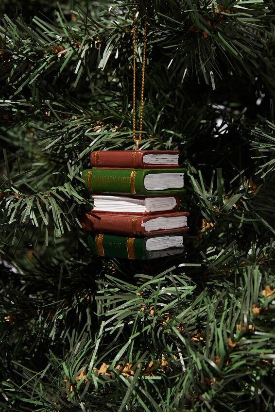 Resin Christmas Ornament, STACK OF BOOKS