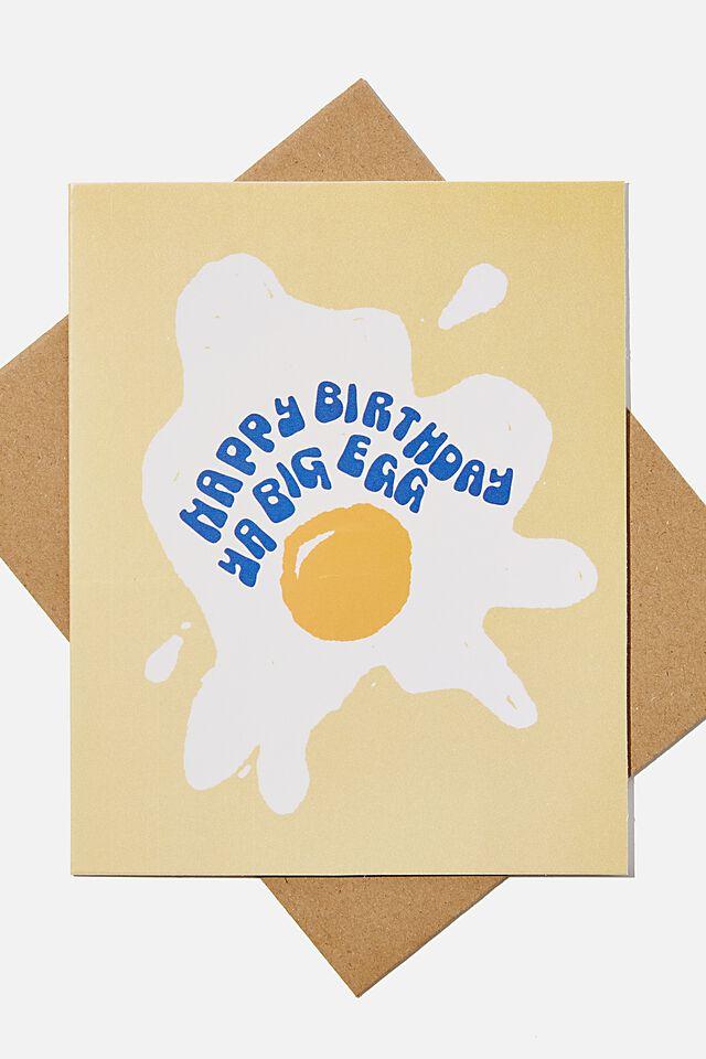 Funny Birthday Card, RG NZ YA BIG EGG