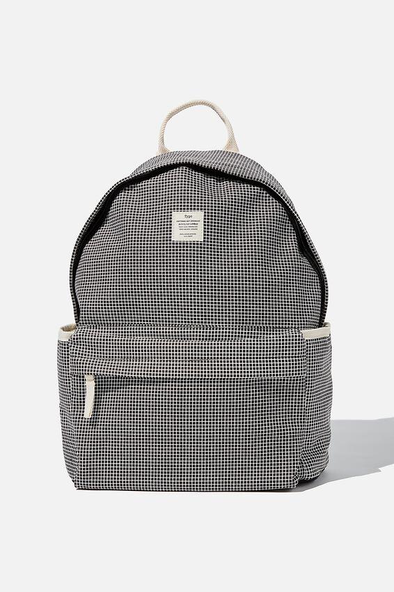 Fundamental Backpack, BLACK GRID CHECK