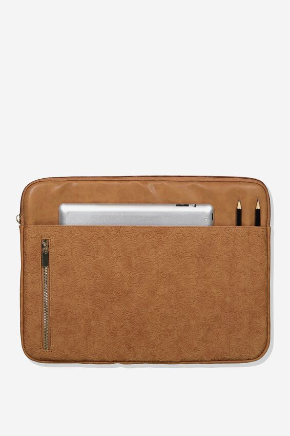Take Charge 15 Inch Laptop Cover, MID TAN FLORAL TOOLED