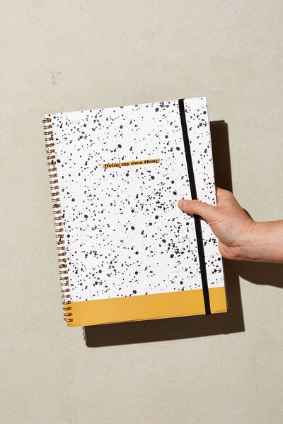 A4 Spinout Notebook Recycled, MUSTARD SPECKLE