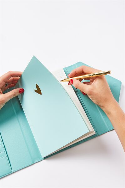 Magnetic Close Journal & Pen, AQUA TOOLED