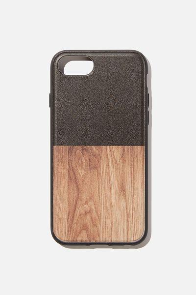 Protective Phone Case 6, 7, 8, SE, BLACK & MAPLE WOODGRAIN SPLICE
