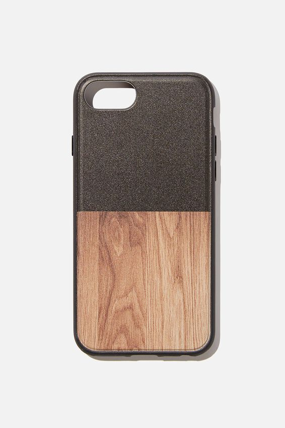 Protective Phone Case 6, 7, 8, SE, BLACK & MAPLE WOODGRAIN SPLICE