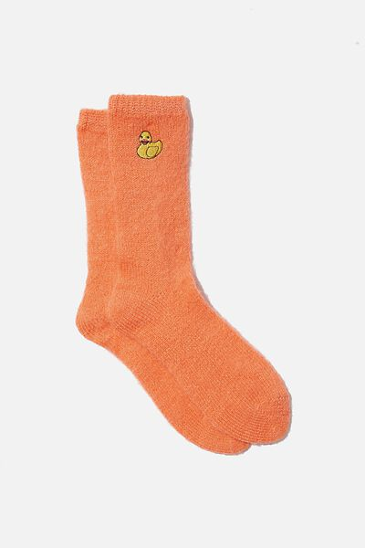 Textured Socks, FUZZY RUBBER DUCKY