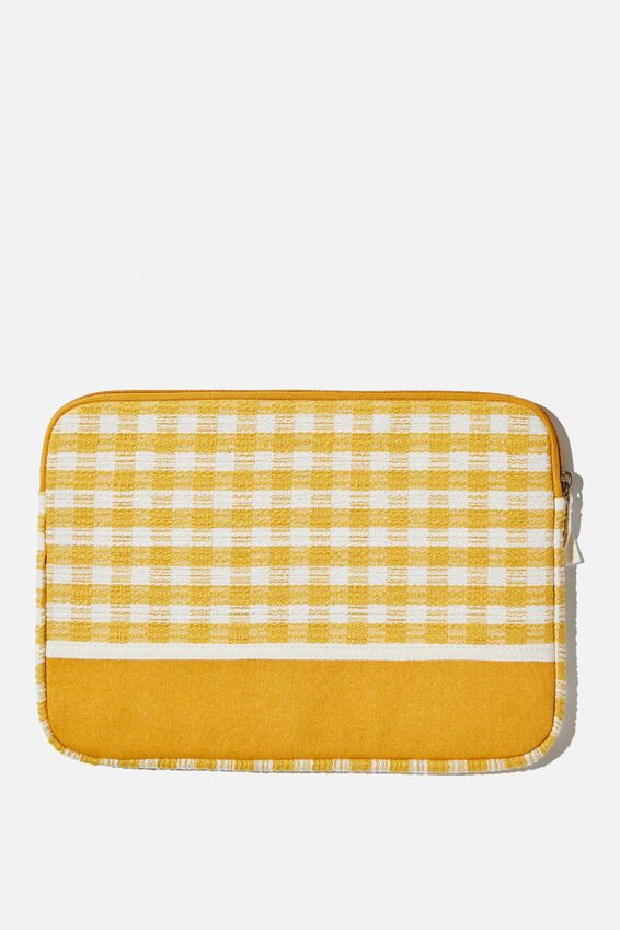 Take Me Away 13 Inch Laptop Case, YELLOW GINGHAM WITH MUSTARD SPLICE