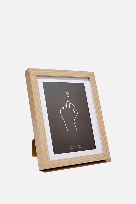 A5 Framed Print, RUDE FINGER!