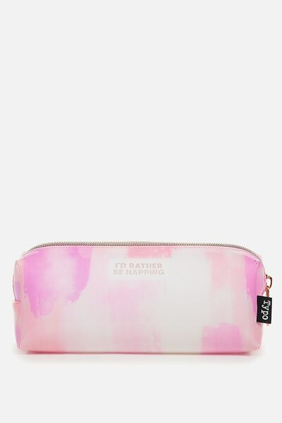 Clear Bailey Pencil Case, NAPPING PEACH PAINTED