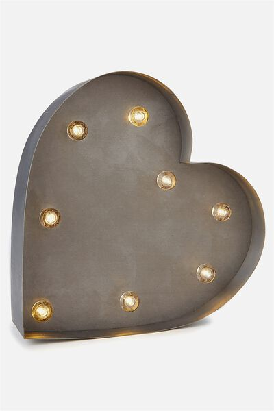 Small Marquee Letter Lights 23cm, SILVER HEART