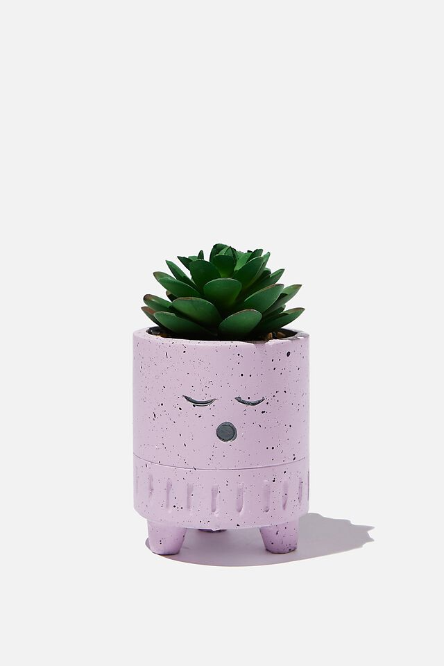 Tiny Planter With Plant, LILAC SPECKLE SLEEPY FACE