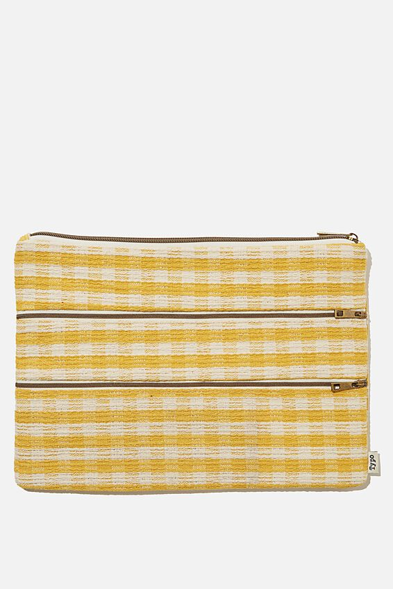 Keep It Together Pencil Case, GINGHAM YELLOW