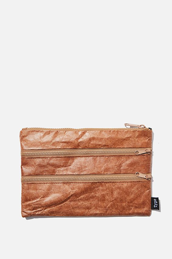 Double Archer Pencil Case, BROWN CRINKLED