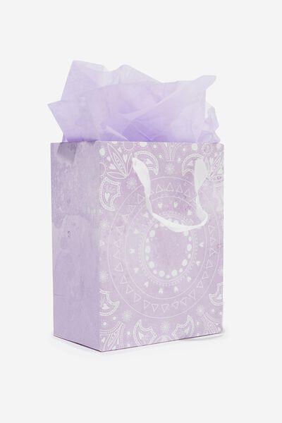 Small Gift Bag with Tissue Paper, LILAC MANDALA CIRCLE