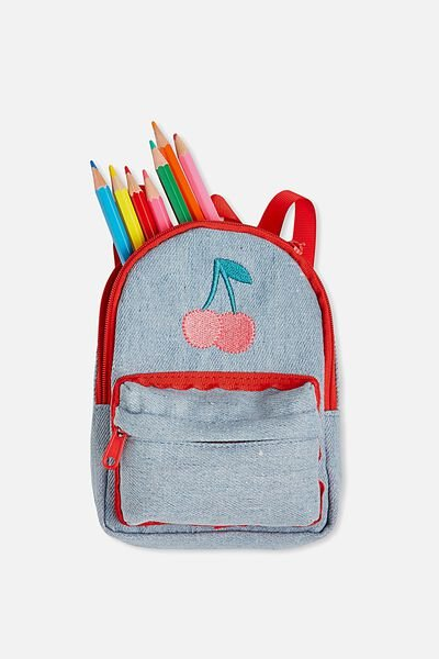 Backpack Pencil Case, DENIM CHERRY
