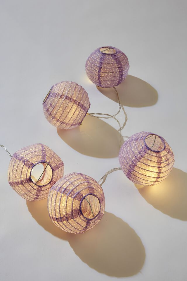 Battery Lucky Lanterns, MEADOW DITSY PALE LILAC