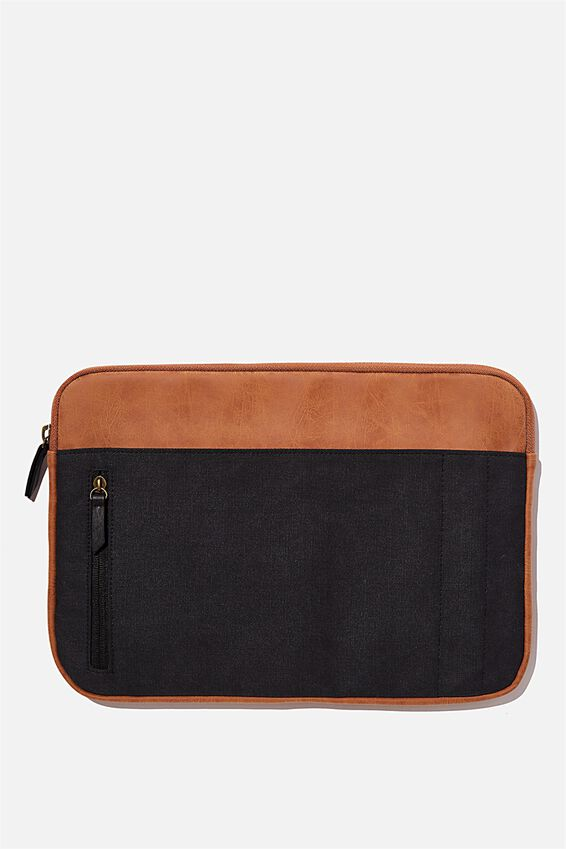 Take Charge 13 Inch Laptop Cover , MID TAN WITH WASHED BLACK
