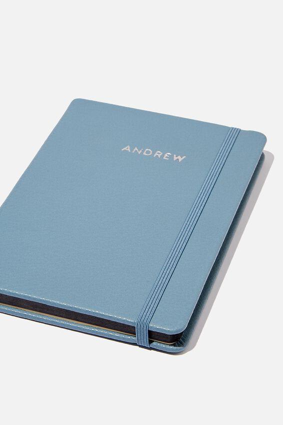 Personalised A5 Buffalo Journal, PETROL BLUE