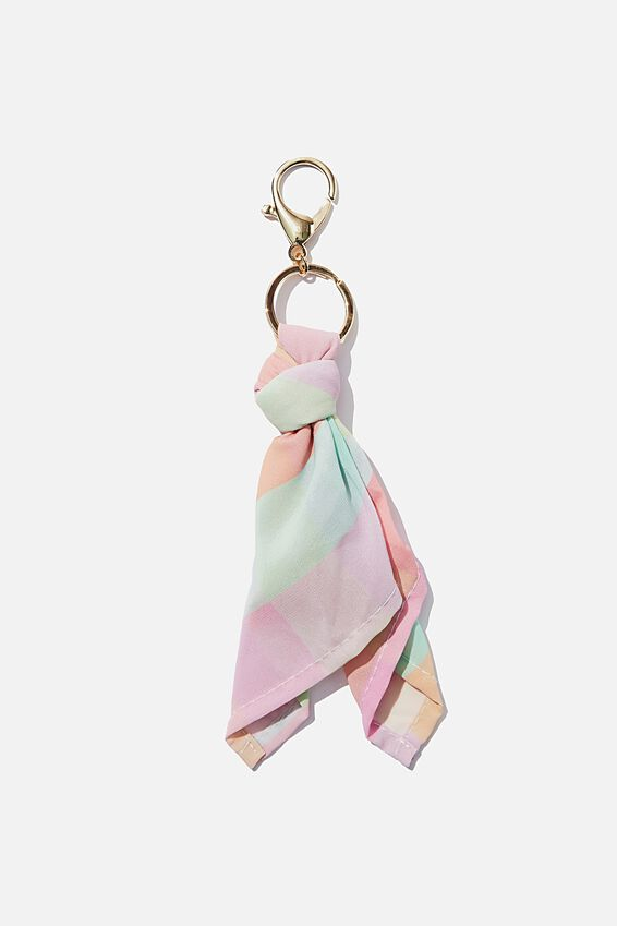 Bag Charm, RAINBOW CHECK