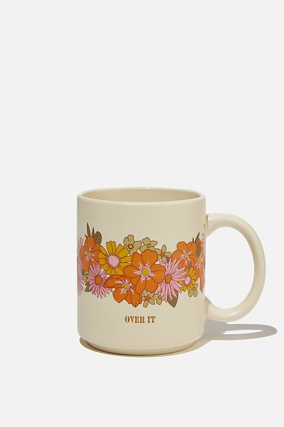 Daily Mug, OVER IT FLORAL ORANGE AND PINK