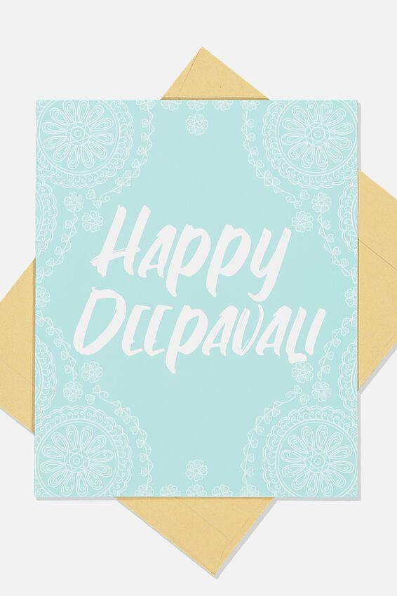 Deepawali Card, BLUE PAISLEY