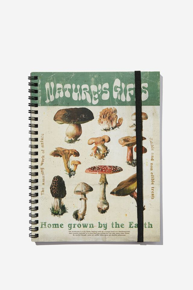 A5 Spinout Notebook Recycled, MUSHROOM NATURES GIFTS