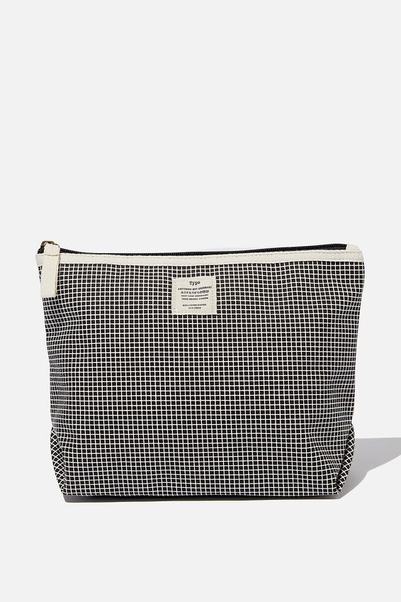 Bci Cotton Pouch, BLACK GRID CHECK