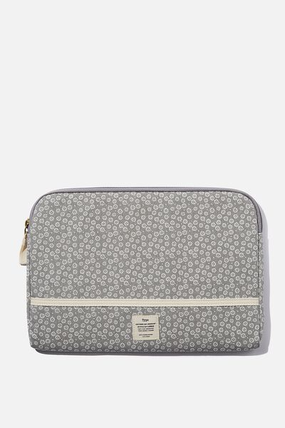 Take Me Away 11 Inch Laptop Case, STAMPED DAISY GREYSCALE
