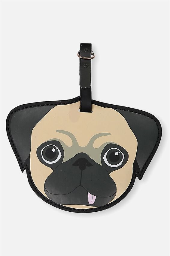 Shape Shifter Luggage Tag, PUG WITH TONGUE