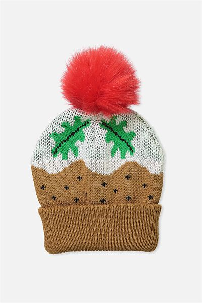 Premium Novelty Beanie, CHRISTMAS PUDDING